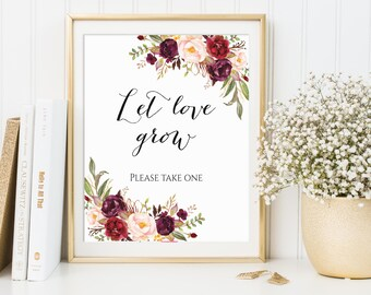 Let Love Grow, Wedding Favor Sign, Please Take One, Seed Favor Sign, Succulent Favor Sign, Favors Please Take One, Marsala Wedding Decor
