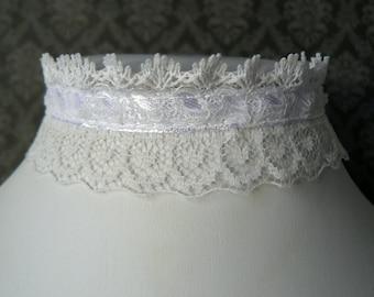 White Lace Choker, Lace and Ruffle Choker, Lacy Goth Choker, Vintage Style Ribbon Necklace, Bridal Jewelry, Wedding Choker