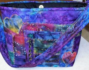 Earthtones Boho Purple Hearts Flower Power Purse Bag Handbag Indy India Gypsy patchwork tribal bohemian ethnic Shoulder hand bag Watercolors