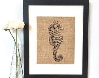 Sea Horse Burlap Print // Rustic Home Decor // Nautical Decor // Ocean Sea Decor // Beach House Decor