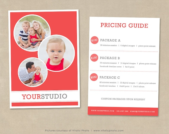 Price Guide Template Kleobeachfixco - Free pricing template for photographers