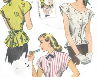 1940s Womens Blouse Peplum Blouse with Neckline Variations Simplicity Sewing Pattern 1590 Size 6 8 10 12 14 Bust 30 1/2 to 36 UnCut