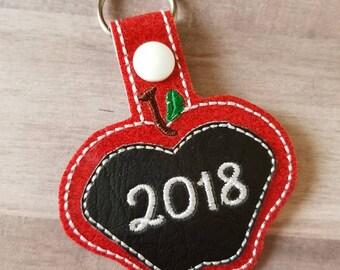 Apple Keychain - 2018 Keychain - 2017 Keychain - Apple Key Chain - Teacher Keychain - Teacher Gift - 2019 Keychain - Key Chain