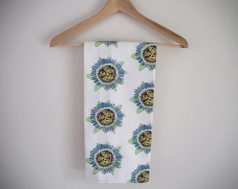 Handmade, Hand Drawn, Cotton, Passion Flower, Tea Towel, Dish Towel, Green and White, Botanical Tea Towel, Floral, Fresh