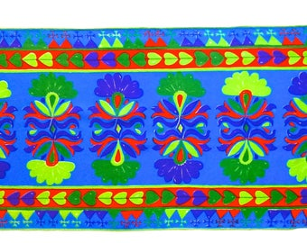 Vera Scarf, 1970s, Abstracted Floral pattern design in  Chartreuse and Leaf Green, Scarlet, Purple and Dark Aqua