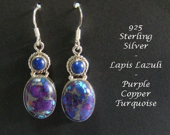 Earrings 021: Sterling Silver Earrings with Lapis Lazuli and Purple Copper Turquoise Gemstones in Stunning Drop Earrings | Silver Earrings