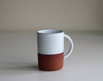 Rustic Terracotta Mug | Handmade Tea Cup with white glaze | Handmade in Manchester, England | READY TO SHIP