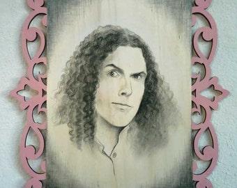 Weird Al Yankovic Portrait ~ Original Charcoal Art on Lasercut Wood