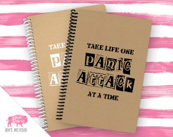 Spiral Notebook | Spiral Journal Planner | Journal | 100% Recycled | One panic attack at a time | BB025