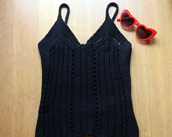 90s Vintage Black Crochet Tank Crop Top / Summer Boho Top Size Xs S