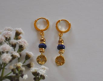 "Earrings gemstones, pearls, stones and zircon medals fine lapis lazuli faceted: model ""Natty"""