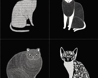 Catnip Large Cat Panel in Black, Gingiber, 100% Cotton, Moda Fabrics, 48230 14