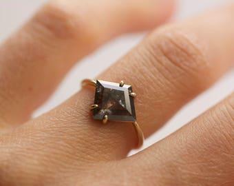 14k Yellow Gold Salt and Pepper Kite Diamond Engagement Ring. Kite Diamond Ring.Salt and Pepper Kite Diamond Ring.Kite Ring