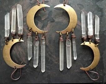 Moon Earrings / Healing Crystal / Dangle Earrings / Crescent Moon/ Daniellerosebean / Boho / Gypsy / Raw Crystal Earrings / witch jewelry