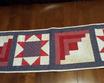 Patriotic Red, White & Blue Table Runner