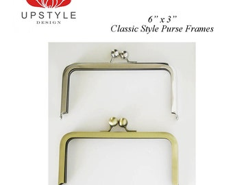 """6"""" x 3"""" Classic Style Metal Purse Frames - Set of 5 Nickel or Antique Brass - Ships from USA"""