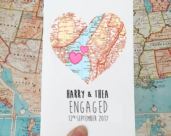 Map heart card etsy personalised engagement card wedding card marriage card she said yes map engagement heart card for bride honeymoon card gift gumiabroncs Images