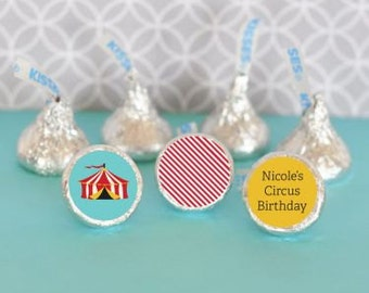 Hershey Kiss Labels-Circus Party Favors-Stickers for Candy Kisses-Personalized Hershey Kiss Favor Labels (set of 108)