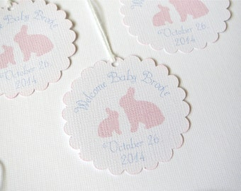 Bunny baby shower favor tags, girl baby shower tags, Pink baby shower gift tags, baby shower favor girl, Welcome Baby tags, thank you tag