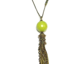 Serpentine natural stone necklace