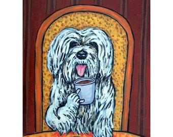Havanese at the Cafe Dog Art Print