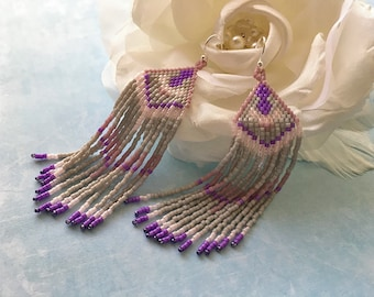 Long fringe earrings Long purple earrings Seed bead earrings Hippie earrings Long earrings Long dangle earrings Tribal earrings Beaded