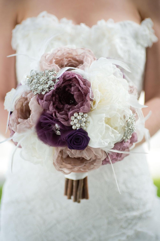 Custom eggplant brooch bouquet purple fabric flower bouquet zoom izmirmasajfo