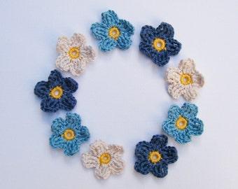 Mini Crochet Flowers - Blues