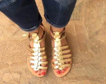 Gold Gladiator Sandals, Ancient Greek Flats, Leather Sandals, Bridesmade Sandals, Gold flat sandals, Womens sandals, Handmade,Beach Sandals,