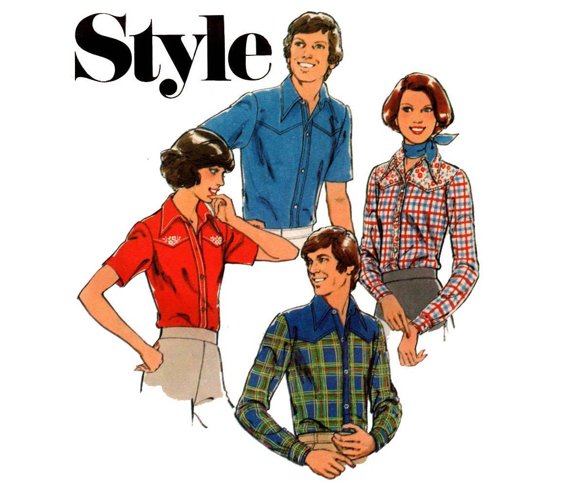 Style 1618 retro 70s mens western shirt vintage sewing pattern description style 1618 vintage sewing pattern jeuxipadfo Images