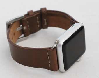 Apple Watch Leather Band   42mm 38mm iWatch   Series 1 Series 2 Series 3   Custom Size Straps/premium quality full grain leather (IW-BROWN)