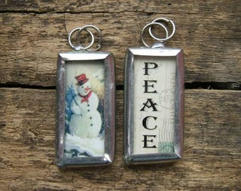 Snowman and Peace Reversible Shabby Chic Rectangle Charm or Pendant