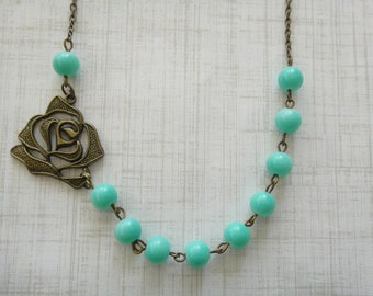 Turquoise Beaded Flower Necklace