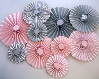 10 pc Pink and Gray Chevron Rosettes | Paper Fans | Pinwheel Backdrop Decor | Paper Rosettes | Candy Buffet Decorations | Pink Polka Dots