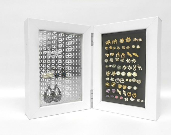 Framed Earring Holder - White 4x6 Size - Hook and Stud Earring Holder