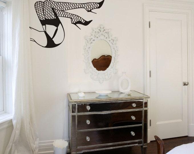 sexy fishnet legs pin-up wall decal, burlesque art, fishnet sticker art, FREE SHIPPING