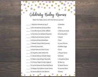 Purple Gold Baby shower games, Celebrity baby name game, Baby shower games, Printable baby shower, Celebrity baby names, Gold, Purple, S008