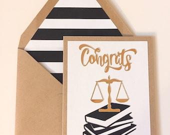 Law School Congratulations Card,  Custom & Handmade to Order