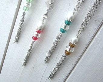 Long Beaded Tassel Necklace, Birthstone tassel necklace