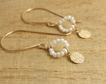 Earrings with Tiny Pearls and Hammered Discs on 14k Gold-Filled Earring Wires GHE-36