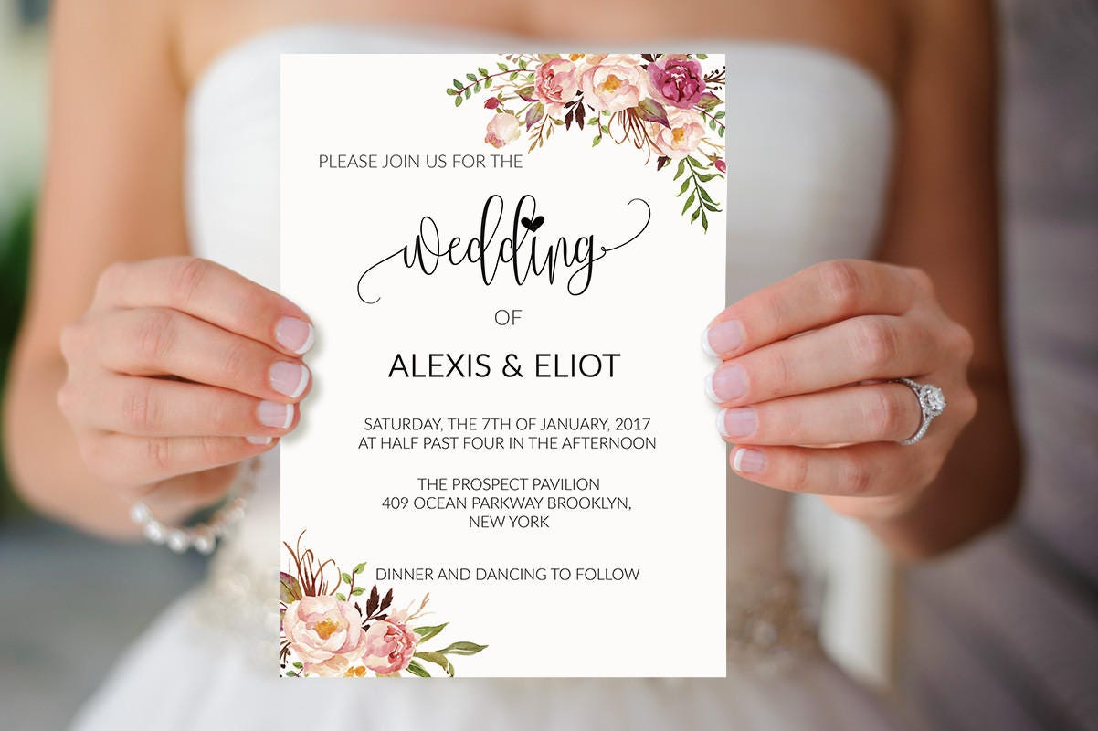 Pink floral wedding invitation template printable coral boho zoom monicamarmolfo Gallery