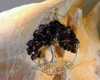 Deep Purple Sterling Silver Amethyst Tree Of Life Necklace On Sterling Chain Wire Wrapped Pendant Gemstone Jewelry February Birthstone