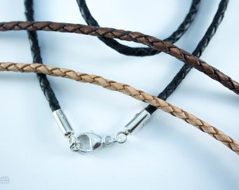 Mens Silver Triangle Pendant Necklace, Brown Leather Braid