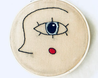 Cheeky Peek Abstract Profile   Hand embroidered abstract profile