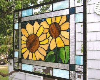 "Stained Glass Window Panel--Summer Sunflowers Double Border--17.5"" x 13.5"""