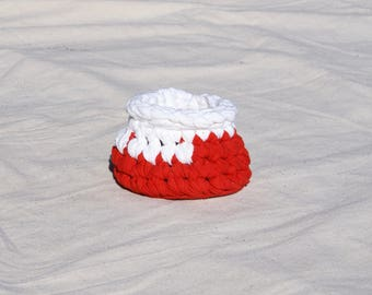 T-Shirt Yarn Basket, Rag Basket, Red and White Basket