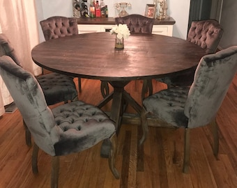 Rustic Round Pedestal Base Table, Round Kitchen Table, Round Dining Table  (Reclaimed Wood