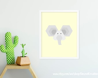 Printable Stylist Nursery Art Print_Elephant/Kids room Wall art poster/child room decor 8x10, 50x70, A3, A4 Digital file INSTANT DOWNLOAD
