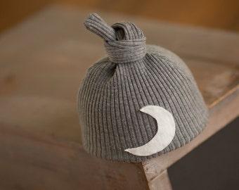 Newborn Moon Hat, Newborn Knot Hat, Gray Newborn Hat, Newborn Photography Prop, Upcycled Newborn Hat, Newborn Hats, Hospital Hat Coming Home