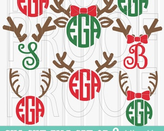 Christmas Monogram SVG Files Set of 8 cut files includes svg/png/jpg formats! Commercial use approved!  reindeer svg reindeer christmas svg